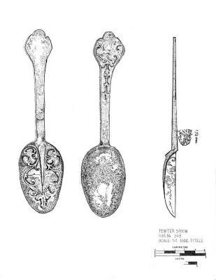 Artifact Drawing - Pewter Spoon