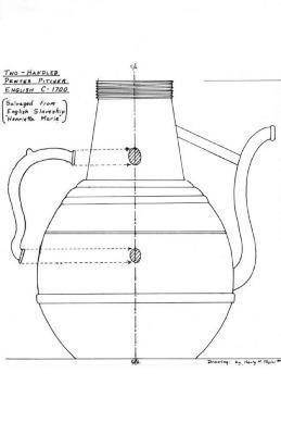 Artifact Drawing - Pewter Pitcher